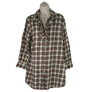 Soft Surroundings Ruffle Flannel Dress Night Gown